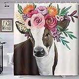 TERSUM Watercolor Flower Shower Curtain, Pasture Garden Cow Decoration Bathroom Curtain, Colorful Flower Fabric Shower Curtains Cloth Fabric Bathroom Decor Set 72x72Inches Include 12 Hooks YLLHTE236