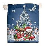 Toomjie - Juego de 5 bolsas de lona para fiestas de cumpleaños, Navidad, manualidades, monedero de fiesta, bolso de doble algodón, lona, Blanco, 20*25cm