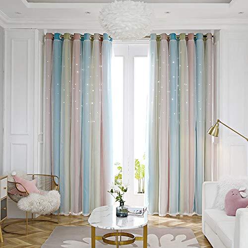 Lefran Gestreift Tüll Vorhang,2 Schicht Sterne Hohlen Romantische Vorhänge Panels Behandlung,Blackout Gardine Für Mädchen Balkon Wohnzimmer A 300x270cm(118x106inch)