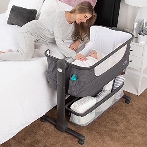 Baby Bassinet, Bedside Sleeper for Baby, Easy Folding Portable Crib with Storage Basket for Newborn, Bedside Bassinet, Comfy Mattress/Travel Bag Included