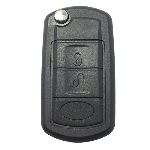 Replacement Key Fob Case Shell Fit for Land Rover Discovery LR3 Range Rover Sport Flip Folding Keyless Entry Remote Car Key Fob Cover with Uncut Blade Blank