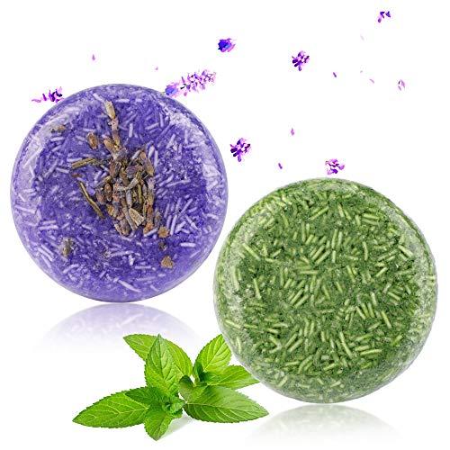 2 Stücke Shampoo Bar, Phogary Haar Seife (Lavendel + Minze) Verschiedene Duftstoffe Essenz Shampoo für Trockenes und Geschädigtes Haar - Hilfen stoppen Haar-Verlust und Fördern Gesundes Haar