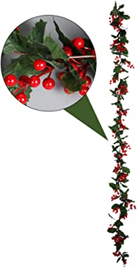Yardwe Artificial Berry Vine Christmas Garland Red Berry Fireplace Decor with Light for Xmas Decoration