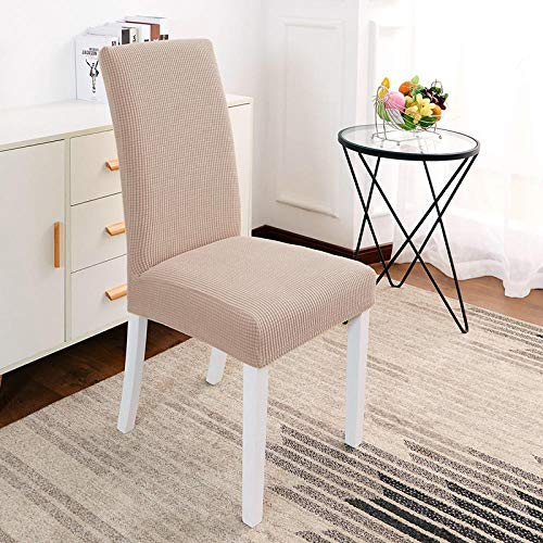 Jasken yyqx container Universal Chair Cover Household Simple Chair Cushion Set Elastic Conjoined Hotel Dining Chair Cover Cushion Dining Table Stool Set, Check Khaki high Back (six Loaded)