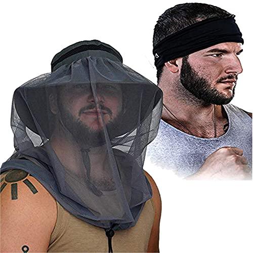 Gear Top Fishing Hat with Mosquito Net & Headband | Dark Grey Explorer Fishing Hat & Black Multi-Functional Headband