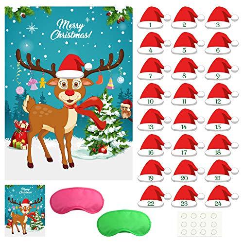 FEPITO Pin The Santa Hat auf der Rentier-Weihnachtsfeier Pin-Spiele mit 24-TLG. Weihnachtsmützen-Aufklebern für Weihnachtsfeierzubehör, Kinder-Neujahrsgeschenke