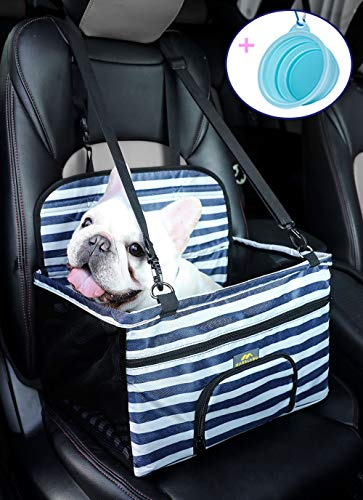 MARSLABO Small Dog Car Seat, Dog Car Booster Seat with Metal Frame Construction and Clip-on Safety Leash, Removable Blanket, Dog Seat for Car,Perfect for Small Dogs Up to 20 Lbs
