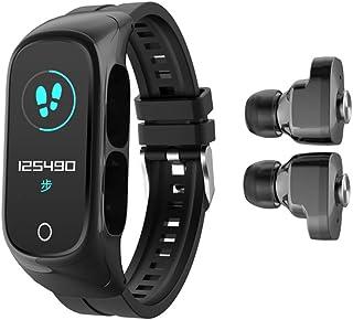N8 2 en 1 Pulsera inteligente TWS Wireless Bluetooth Auricular Combo Auriculares Inteligente Reloj Bluetooth Llamada de Frecuencia Cardíaca Monitor de Sueño Mujeres Hombres Sport Smart Band (negro)