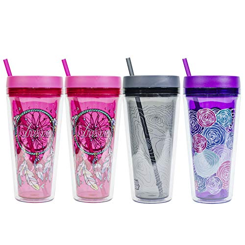 COOL GEAR 4-Pack 24 oz Callisto Printed Chiller with Straw | Dual Function Spill-Proof Closure Printed Re-Usable Tumbler Water Bottle
