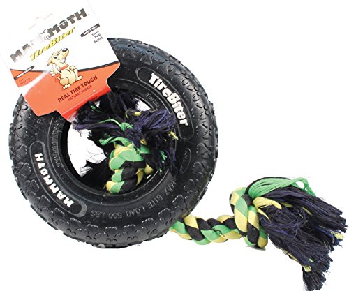 TIREBITER PAW TRACKS TIRE WITH ROPE DOG TOY