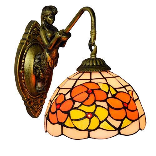 LONGWDS Lámpara de Pared Británica Moderna del vitral de Tiffany de la Sala Clubhouse Bar ala del balcón lámpara de Pared de la decoración de la Pared de luz de la lámpara de Tiffany