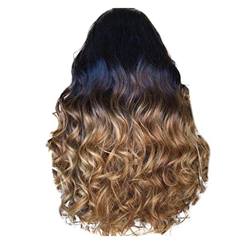 Lace Front Wigs Girl Gradient Natural Brown Party Wig,Alalaso Long Full Curly Hair Fashion Synthetic Wig