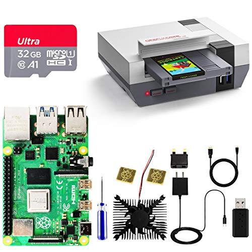 "RETROFLAG Raspberry Pi 4 Caja Kit con Pi 4 Model B 4 GB, Tarjeta microSD de 32GB, NESPi 4 Caja con 2.5"" SSD Caja, Micro-HDMI Cable, Disipador, Tipo C Cargador, Lector de Tarjetas para Raspberry Pi 4"