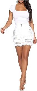 Comaba Women High Waist Casual Slim Ripped Hot Short Shorts