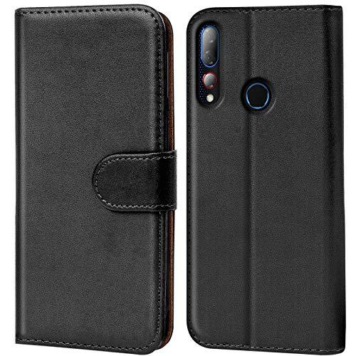 Verco HTC Desire 19+ Hülle, Handyhülle für HTC 19 Plus Tasche PU Leder Flip Hülle Schutzhülle Brieftasche - Schwarz