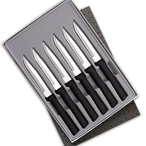 Rada Cutlery Serrated Steak Knife Set – Stainless Steel Knives with Black Stainless Steel Resin Handle, Set of 6