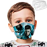 Unisex Harry Pot-ter Art Print Mouth Cover Cotton Breathable Anti-Dust Shield with 2PCS Filter Pads for Kids