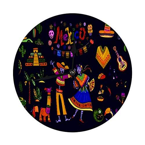 Meili Shop Reloj de Pared Moderno Gran México Grande Elementos Esqueleto Personajes Animales en Estilo Plano Reloj Redondo Digital