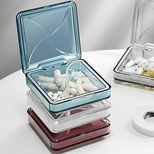 Caja de píldoras portátiles de 3 Piezas, Mini píldora, Caja de Almacenamiento sellada de Medicina portátil, Caja de Pastillas para Llevar con Usted, para Viajes de Negocios (Azul + Blanco + Rojo)