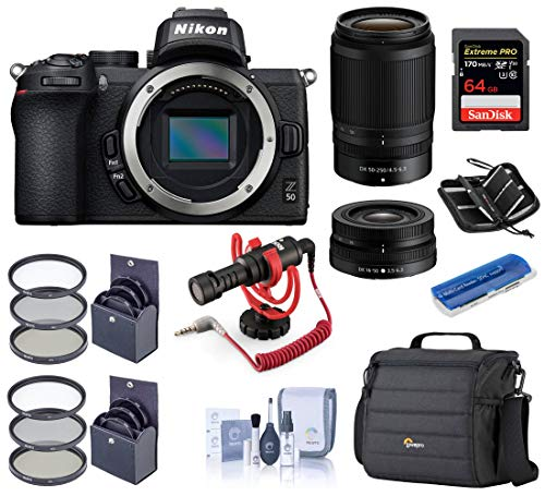 Nikon Z50 DX-Format Mirrorless Camera with NIKKOR Z DX 16-50mm f/3.5-6.3 VR & Z DX 50-250mm f/4.5-6.3 VR Lenses, Bundle with Rode Microphone, Camera Bag, 64GB Card, Filter Kits, and More