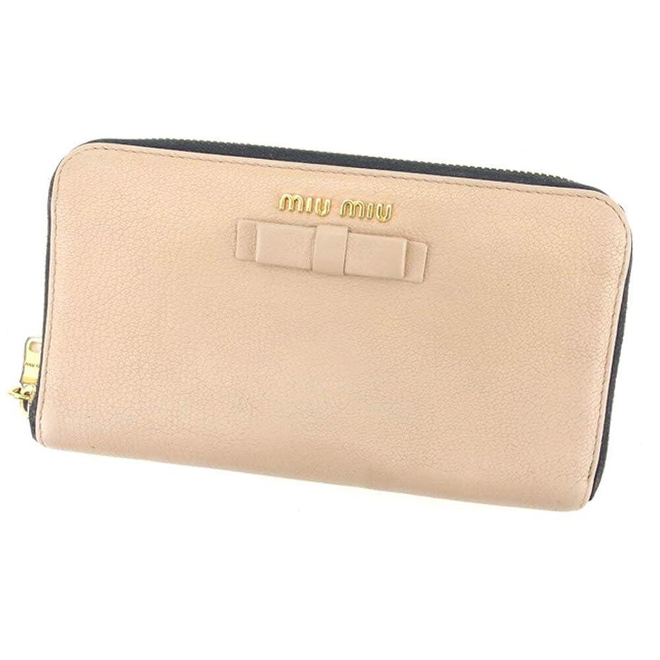 充実クローン鮮やかな(ミュウミュウ) Miu Miu 長財布 ラウンドファスナー 財布 リボンモチーフ レディース 中古 T8252