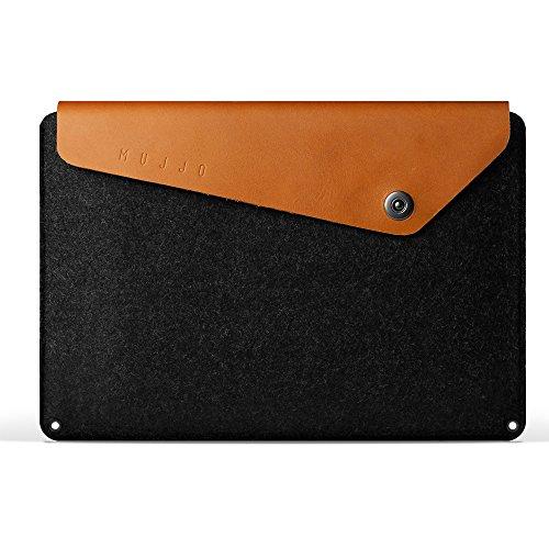 Macbook Pro 15 inch Sleeve by Mujjo - [Designer 15' Macbook Pro Leather Sleeve] Signature Soft Waterproof Felt, Premium Leather Laptop Sleeve Bag, Pockets w/ Credit Card Slot, Snap Button Flap (Tan)