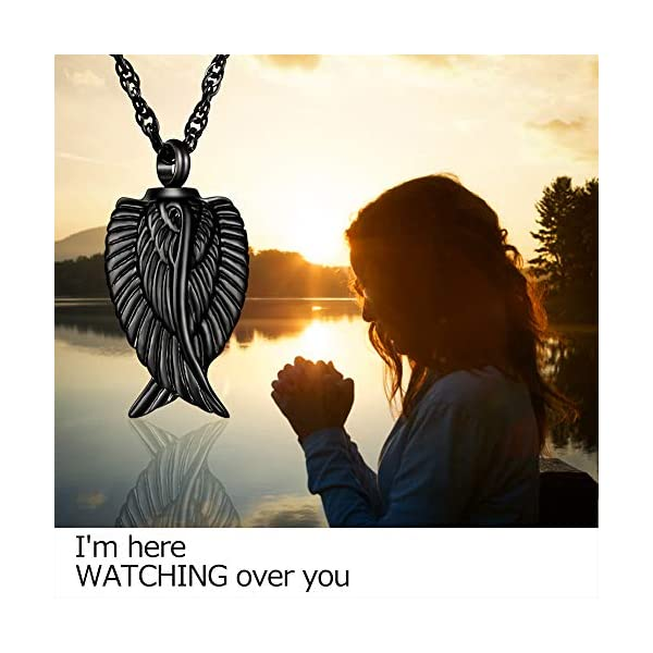 Dletay Angel Wing Cremation Necklace for Ashes Stainless Steel Urn Pendant Ashes Holder Memorial Jewelry-I'm Here Watching Over You