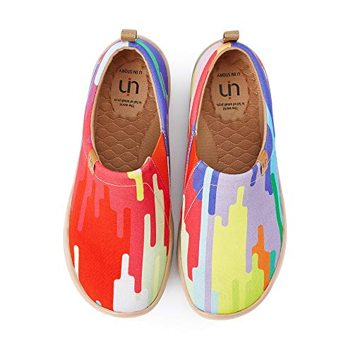 UIN Unisex Lightweight Sneakers Slip Ons Walking Casual Fashion Graffiti Art Painted Travel Holiday Shoes Chrome of Passion (38)
