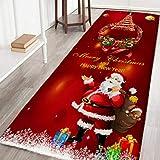 Lucoss Alfombras de Navidad y alfombras de franela de tela antideslizante con respaldo de goma absorbente alfombra de baño hogar cocina decoración Navidad (60 x 180 cm, rojo)