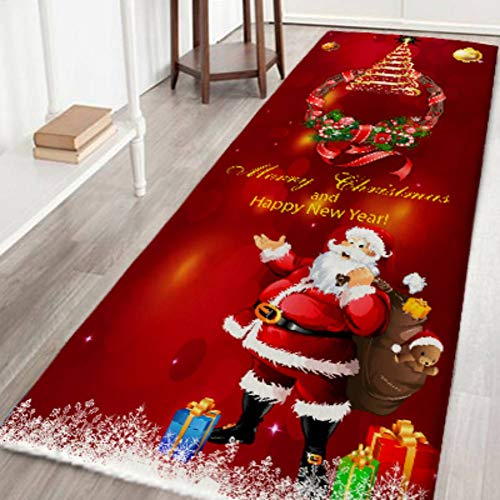Panarciss Christmas Floor Mat Xmas Bath Rugs Flannel Non Slip Rubber Rug for Home Kitchen Holiday Festive