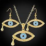 CLEARNICE Pendientes Conjunto De Collar Colgante para Mujer Color Dorado Moda Rhinestone Crystal Tear Evil Eye Jewelry Sets