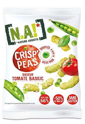 N.A! Nature Addicts - Crisp'Peas Tomate Basilic - Soufflés de Petits Pois, Légers et Délicats - 50% de Matières Grasses en Moins - Sans Gluten - Source de Fibres et de Protéines - 5 Sachets de 50 gr