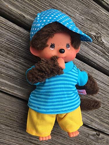 Puppenkleidung handmade passend für MONCHICHI Gr. 20 cm Shirt + Hose + Käppi Kleidung Junge Boy Cap Käppi türkis & gelb NEU