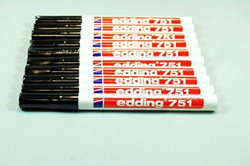 Marcador permanente Edding 751 Negro (10 unidades)