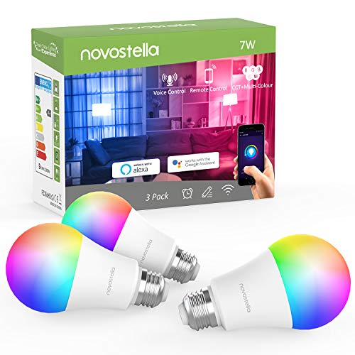 Novostella 3 Pack Smart Lampe E27 Alexa Glühbirnen Dimmbar RGB, 7W LED Wlan Smart Birne Google Home IFTTT, Timing Tunable White 2700K-6500K, 600lm, Fernbedienung von iOS & Android