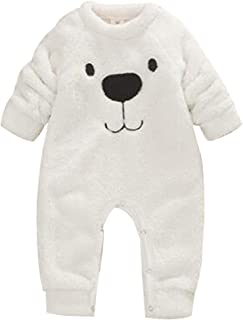 Franterd White Fleece Hooded Rompers Baby Little Girls Boys Cartoon Bear Ears One-Piece Harem Pants Overall Jumpsuits
