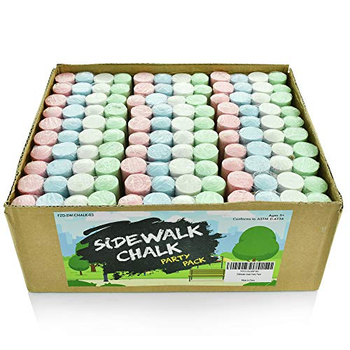 Sidewalk Chalk Party Pack – 30 x Pack of 4 MultiColor Jumbo Street Chalks – 4 Bright amp Cheerful Colors – Nontoxic Washable Tapered Chalks for Party Favors and Gifts  1 x 4 Inches
