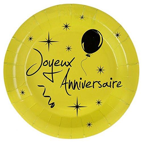 Chal - Assiette vert anis joyeux anniversaire