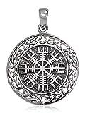 Plata de Ley 925 sólida Aegishjalmur Helm of Awe Norse Viking Celtic Colgante