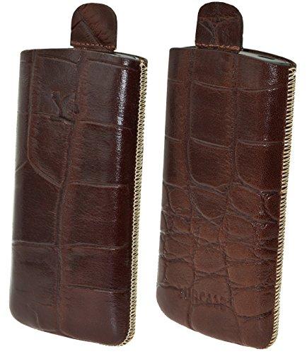 Original Suncase Etui Tasche für / Bea-fon SL340 / Beafon SL340i / Leder Etui Handytasche Ledertasche Schutzhülle Hülle Hülle Lasche *mit Rückzugfunktion* croco-braun