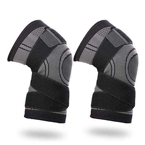 Vitoki Kniebandage Knieorthese Elastische Sportarten Knieschützer 1 Paar für Damen & Männer mit verstellbare Kompressionsgurte Grau XL