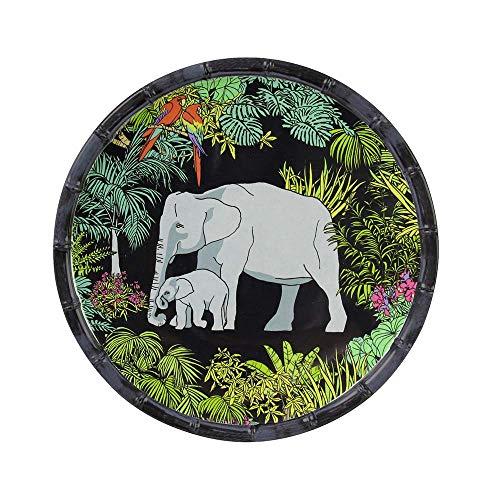 Les Jardins de la Comtesse - Petite Assiette à Dessert Plate en Mélamine Pure - Contour Bambou - Jungle - Ø 23 cm - Noir/Vert - Service de Table - Collection de Vaisselle Quasi-Incassable MelARTmine