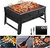 GolWof Barbecue Portable Barbecue Pliable Barbecue à Charbon Camping en Acier Inoxydable Barbecue Grill avec Tapis de BBQ, Pince de BBQ et Brosse à Huile Robuste pour Pique-Nique Camping