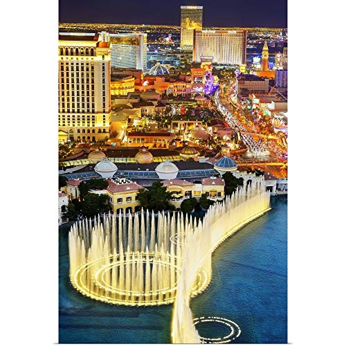 GREATBIGCANVAS The Las Vegas Strip at Night Fine Art Poster Print, Las Vegas Home Decor Artwork, 16'x24'