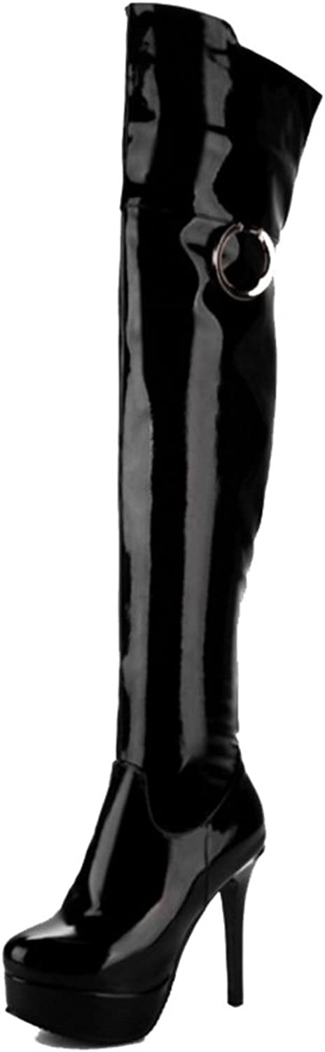SJJH Over-The-Knee Boots with Stiletto and Thick Platform Sexy Boots with Large Black