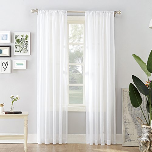 "No. 918 44041 Cory Open Weave Cotton Sheer Curtain Panel, 50"" x 84"", White"