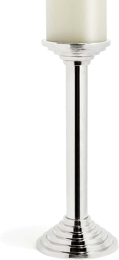 Amazon Com Lamplust Large Pillar Candle Holder Silver Metal 12 Tall Candleholder Modern Design Fits 3 Inch Diameter Candles Home Kitchen