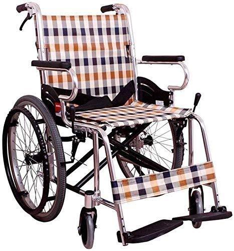 Hyy-yy Manual de la silla de ruedas de aleación de aluminio silla de ruedas, plegable portátil ligero con silla de ruedas, scooter de rueda for minusválidos de edad avanzada, de 20 pulgadas sólido tra