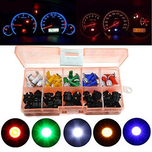 Haichen Lot de 30 ampoules LED T5 1SMD 5050 pour tableau de bord de voiture et moto