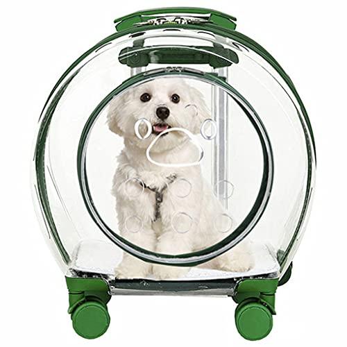 LSJQ Mochila para Perros Totalmente Transparente, Adecuada para Perros y Gatos pequeños y medianos, Maleta con Ruedas para Mascotas Impermeable y Transpirable, Verde